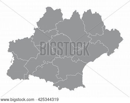Occitanie Administrative Map Isolated On White Background, France