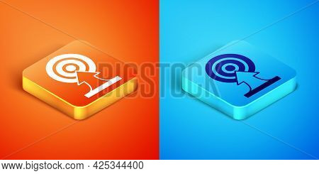 Isometric Target With Arrow Icon Isolated On Orange And Blue Background. Dart Board Sign. Archery Bo