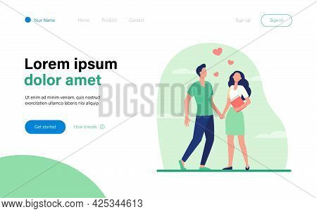 Young Couple Standing And Holding Hands. Heart, Girlfriend, Boyfriend Flat Vector Illustration. Love
