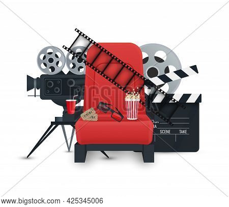 Cinema Background. Film Industry Objects. Tickets, Popcorn, Film Strip, 3d Glasses, Movie Camera And