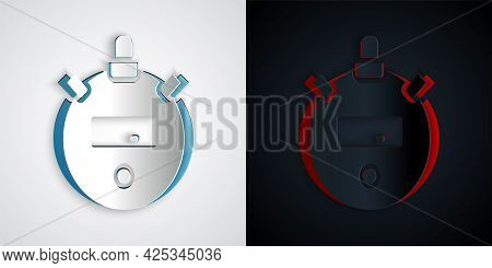 Paper Cut Stopwatch Icon Isolated On Grey And Black Background. Time Timer Sign. Chronometer Sign. P