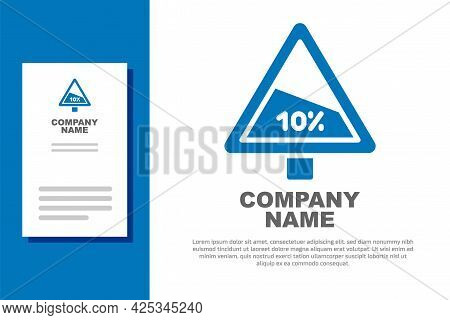 Blue Steep Ascent And Steep Descent Warning Road Icon Isolated On White Background. Traffic Rules An