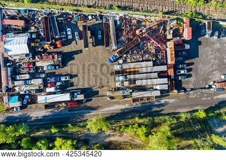 Aerial Panoramic View Metal Scrap As Waste Collected In A Part At Junkyard Scrap Yard For Recycling