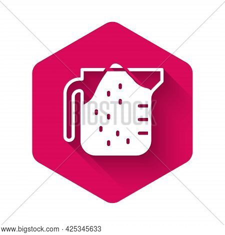 White Measuring Cup To Measure Dry And Liquid Food Icon Isolated With Long Shadow Background. Plasti