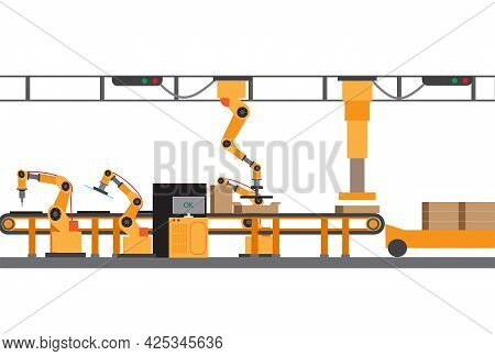 A Vector Of Industrial Revolution Implement At Electronic Cooktop Factory.