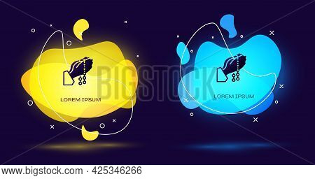 Black Hands In Praying Position With Rosary Icon Isolated On Black Background. Praying Hand Islam Mu