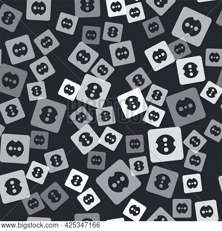 Grey Electrical Outlet Icon Isolated Seamless Pattern On Black Background. Power Socket. Rosette Sym