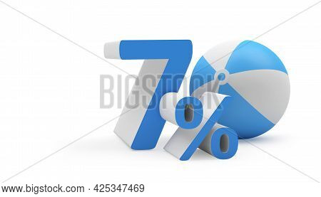 Seventy Percent Discount With A Beach Ball. 3d Illustration