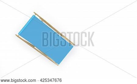 Blue Chaise Lounge On White Top View. 3d Illustration