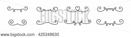 Text Doodle Separator Set, Separators In Sketchswirl Style, Graphic Decoration Abstract Handdrawn De