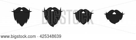 Beard Vector Flat Icon Of Adult Man, Stylish Hipster Barber Beards With Mustache Graphic Portrait El