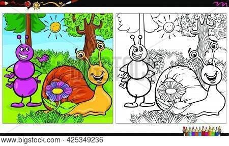 Cartoon Illustration Of Ant And Snail Animal Characters Group Coloring Book Page