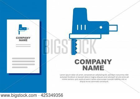 Blue Electric Jigsaw With Steel Sharp Blade Icon Isolated On White Background. Power Tool For Woodwo