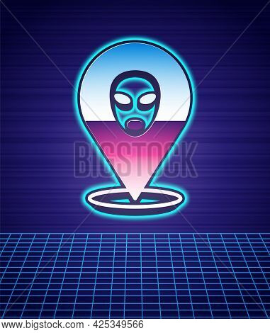 Retro Style Alien Icon Isolated Futuristic Landscape Background. Extraterrestrial Alien Face Or Head