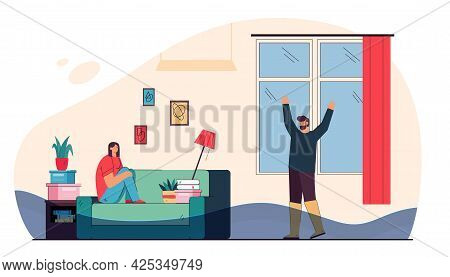Woman Sitting On Sofa And Crying Because Of Broken Water Pipe. Water Flooding In House Flat Vector I