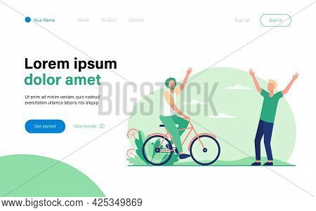 Active Senior And Young Men Meeting Outdoors. Riding Bike, Father And Son Flat Vector Illustration.