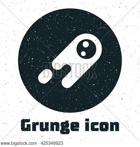 Grunge Comet Falling Down Fast Icon Isolated On White Background. Monochrome Vintage Drawing. Vector