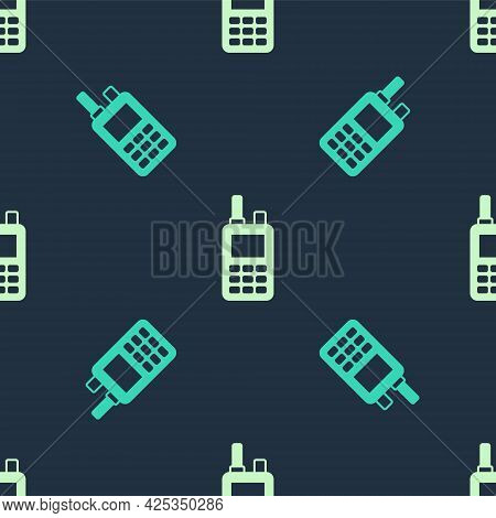 Green And Beige Walkie Talkie Icon Isolated Seamless Pattern On Blue Background. Portable Radio Tran