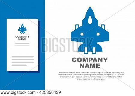 Blue Jet Fighter Icon Isolated On White Background. Military Aircraft. Logo Design Template Element.