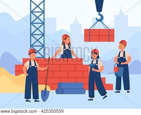 Kids In Overalls And Helmets Building House. Happy Male And Female Constructors Laying Bricks Using