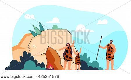 Prehistoric Family Standing Near Cave Flat Vector Illustration. Mother And Kid In Leopard Hides Gree