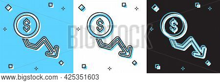 Set Dollar Rate Decrease Icon Isolated On Blue And White, Black Background. Cost Reduction. Money Sy