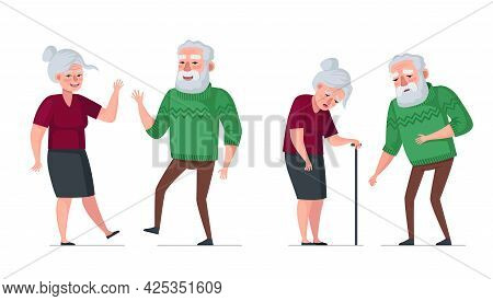 Elderly Couple Healthy And Sick Comparison. Active Cheerful Healthy Old People And Sick Sad Tired Se