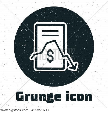 Grunge Mobile Stock Trading Concept Icon Isolated On White Background. Online Trading, Stock Market