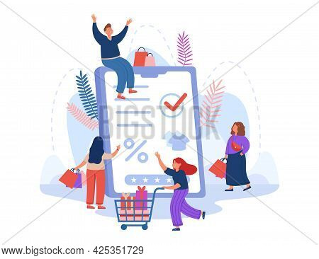 Group Of Customers Shopping In Online Store And Huge Tablet. Sale At Internet Shop, Buyer With Purch