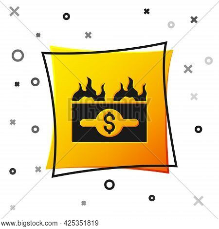 Black Burning Dollar Bill Icon Isolated On White Background. Dollar Bill On Fire. Burning Of Savings