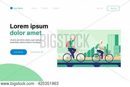 Senior Couple Riding Bikes. Old Man And Woman Cycling On City Flat Vector Illustration. Active Lifes