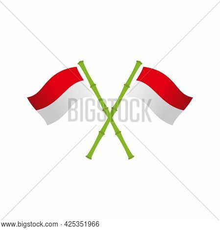 Simple Clean Indonesia Flag Illustration Design, Modern Red And White Flag On Bamboo Stick Template