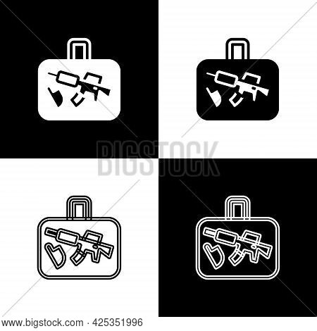 Set Suitcase For Travel Icon Isolated On Black And White Background. Traveling Baggage Sign. Travel