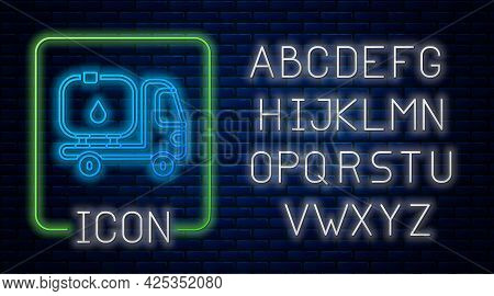 Glowing Neon Fuel Tanker Truck Icon Isolated On Brick Wall Background. Gasoline Tanker. Neon Light A