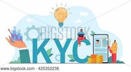 Knowing Your Customer Flat Vector Illustration. Man With Magnifier Checking Bank Account Of Client.