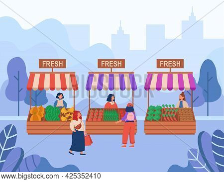 Women Buying Fresh Food At Local Market Flat Vector Illustration. Cartoon Venders Selling Organic Fr