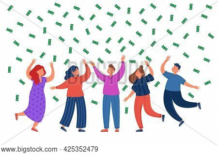 Business Team Rejoicing Money Falling From Above. Happy Male And Female People Dancing, Rising Their