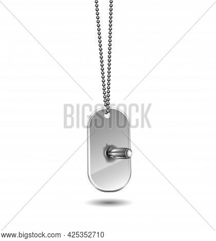 Metal Tag With A Bullet Hanging On A Chain Isolated On White Background. The Bullet Hit The Tag.