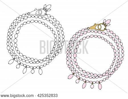 Bracelet With Pink Pearls And Pendants. Vector Illustration Isolated On A White Background.