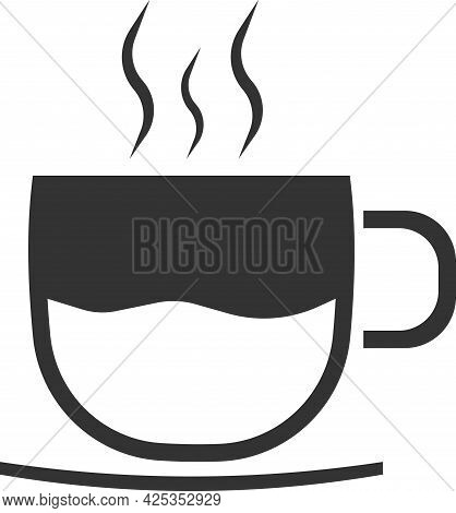 Vector Coffee Cup Icon. A Teacup. An Illustration Isolated On A White Background.