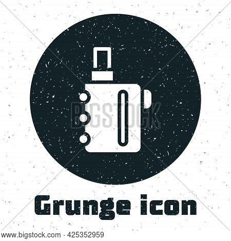Grunge Electronic Cigarette Icon Isolated On White Background. Vape Smoking Tool. Vaporizer Device.