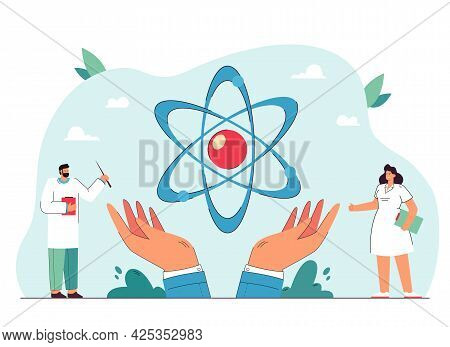 Science Symbol In Hands Flat Vector Illustration. Tiny Male And Female Doctors Standing In Medical O