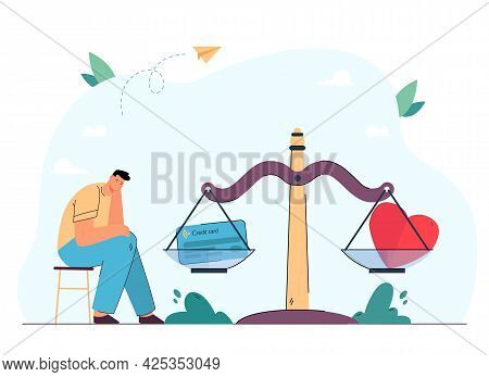 Sad Man Sitting Next To Scales With Heart And Credit Card. Male Person Making Choice Between Love An
