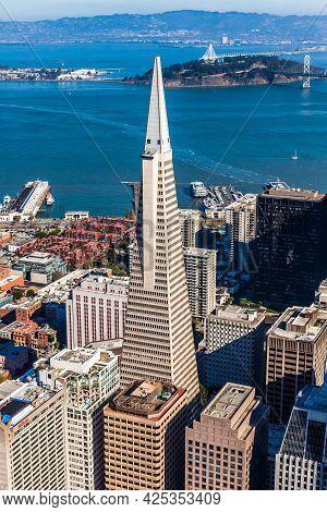 San Francisco - November 13: Aerial View Of Transamerica Pyramid And Downtown San Francisco On Novem