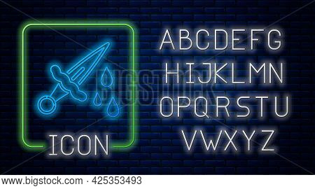 Glowing Neon Sword With Blood Icon Isolated On Brick Wall Background. Medieval Weapons Knight And So