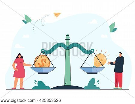 Tiny People Standing Next To Scales With Coin And Light Bulb. Balance Between Creative Projects And