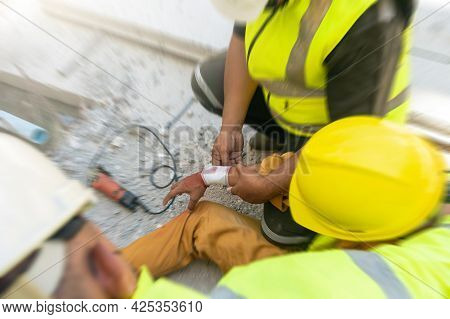 Motion Blur, Safety Team Help First Aid Support Employee Accident In Site Work, Builder Accident Inj