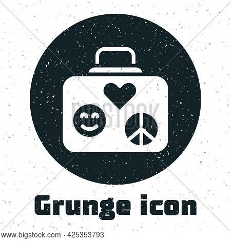 Grunge Suitcase For Travel Icon Isolated On White Background. Traveling Baggage Sign. Retro Hippie S
