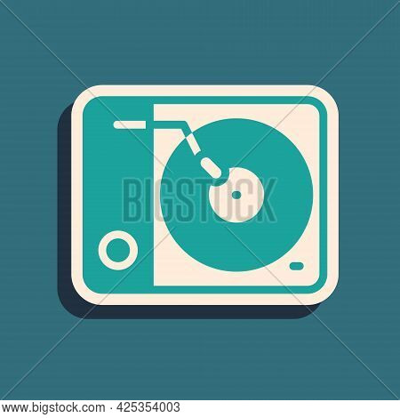 Green Vinyl Player With A Vinyl Disk Icon Isolated On Green Background. Long Shadow Style. Vector