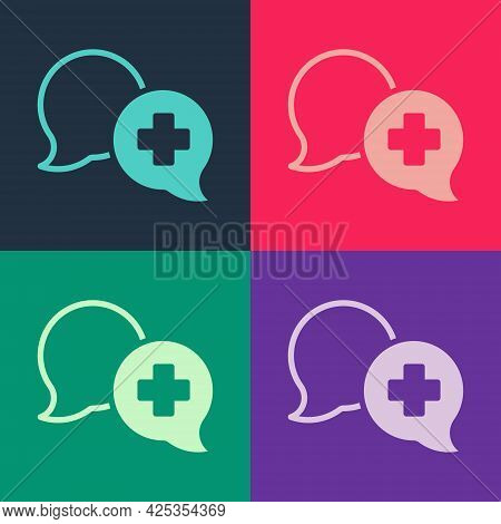 Pop Art Dialogue With The Doctor Icon Isolated On Color Background. Doctor And Patient Dialog. Consu